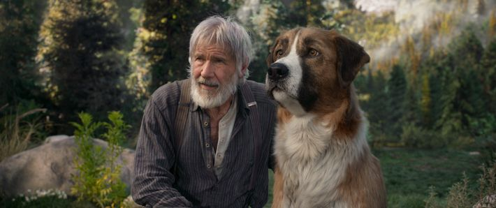 Harrison Ford dans le rôle de Jack Thornton, aux côtés de Buck, dans la nouvelle adaptation ...