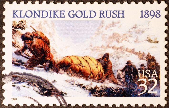 Ce timbre commémore les difficultés de la ruée vers l'or qui a attiré Jack London sur ...