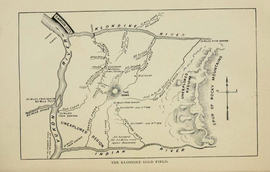 Une carte de prospecteur publiée vers 1898 dans un guide à destination des Klondikers.