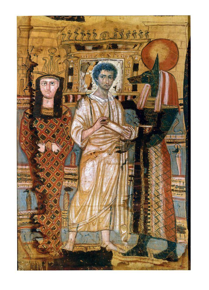 Les sarcophages et linceuls des momies gréco-romaines étaient souvent décorés de scènes représentant des croyances religieuses ...