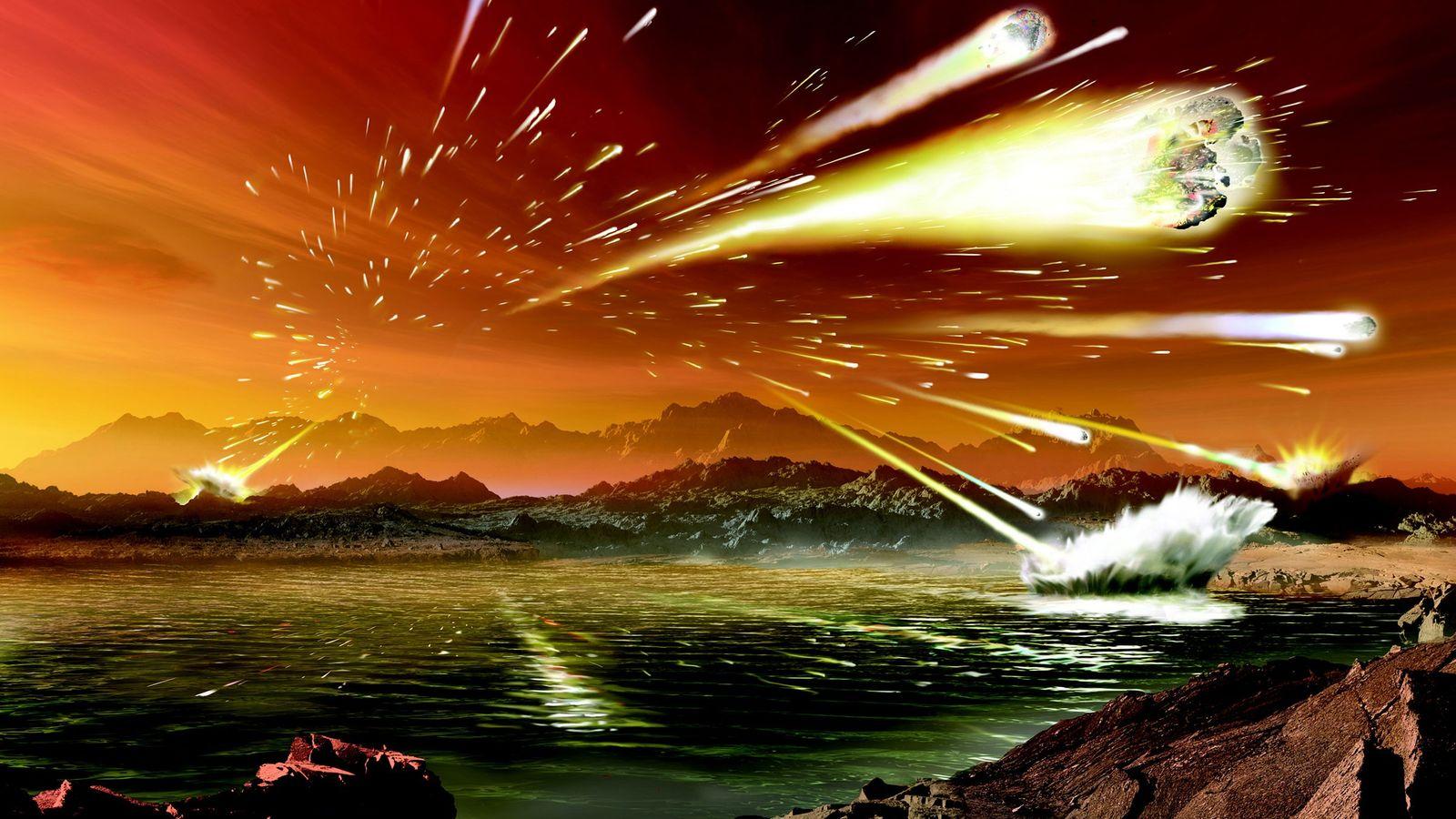 Cette illustration montre à quoi pouvait ressembler la Terre il y a 3,8 à 4 milliards ...