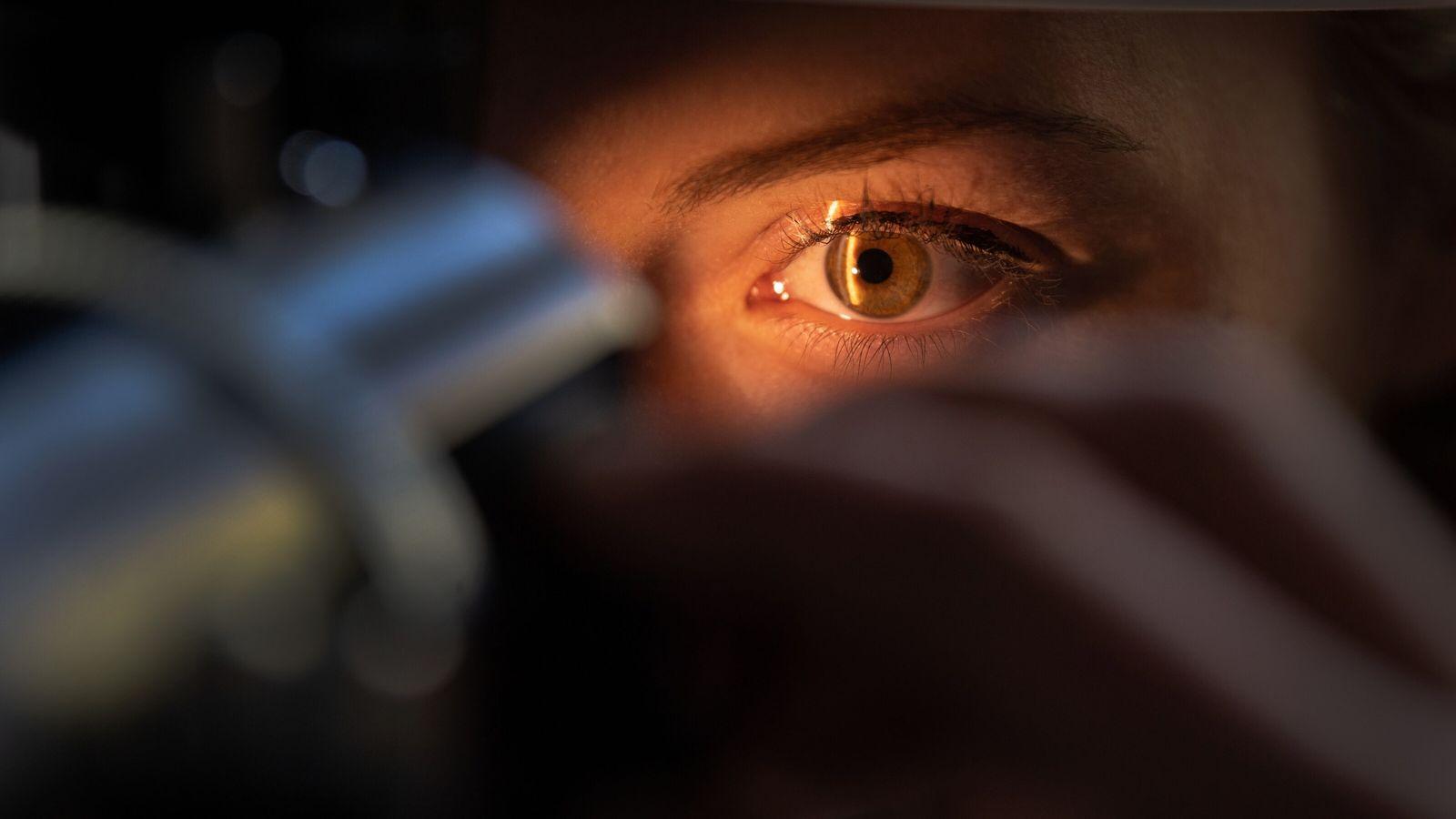 Un médecin examine l'œil d'un patient dans le land de Bade-Wurtemberg, en Allemagne. Les progrès accomplis ...