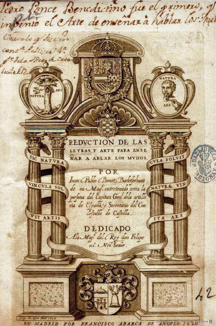 Livre de Juan de Pablo Bonet sur l'éducation des sourds datant de 1620.
