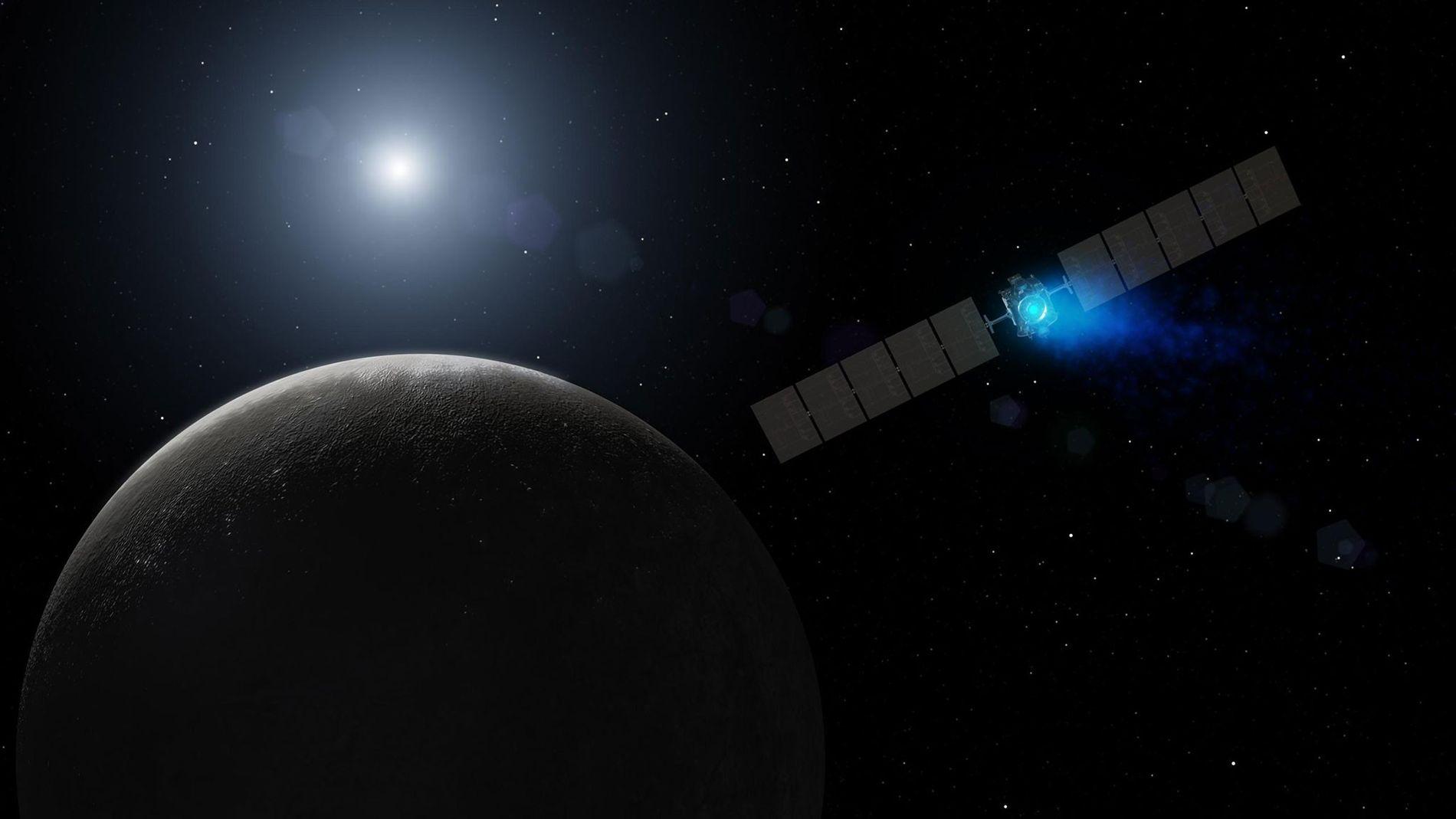 Dawn, la sonde spatiale de la NASA, arrive sur la planète naine Cérès sur cette vue ...