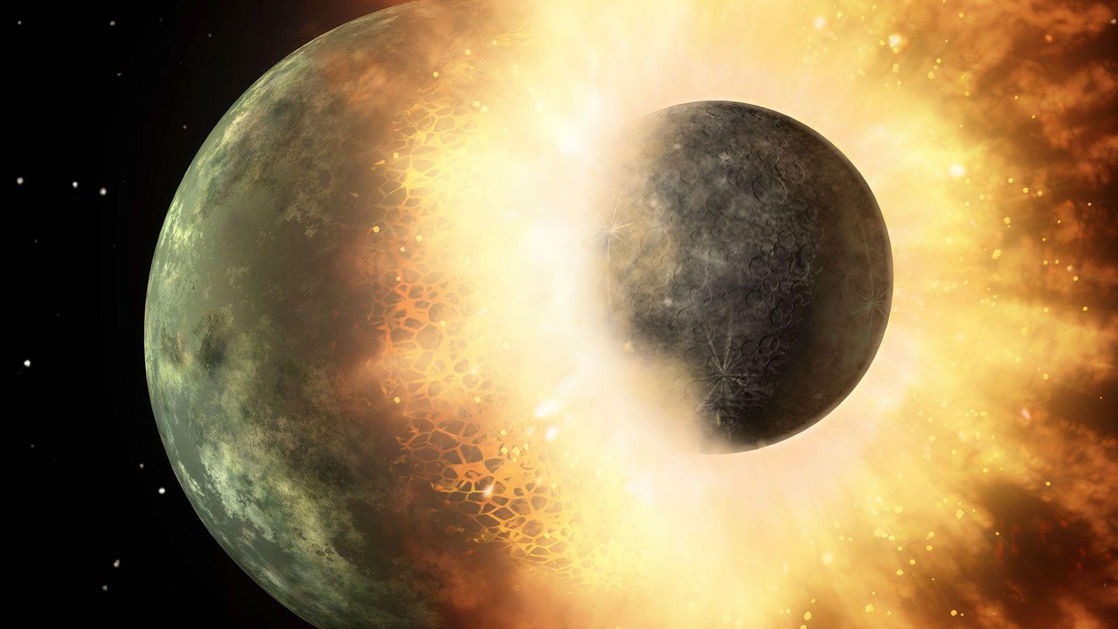 Sur cette illustration de la NASA, un objet céleste de la taille de notre lune entre ...