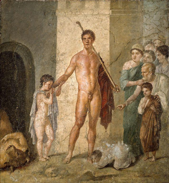 Dédaleprésentant la vache en bois à Pasiphaé, peinture murale dePompéi(maison des Vettii),Iersiècle.