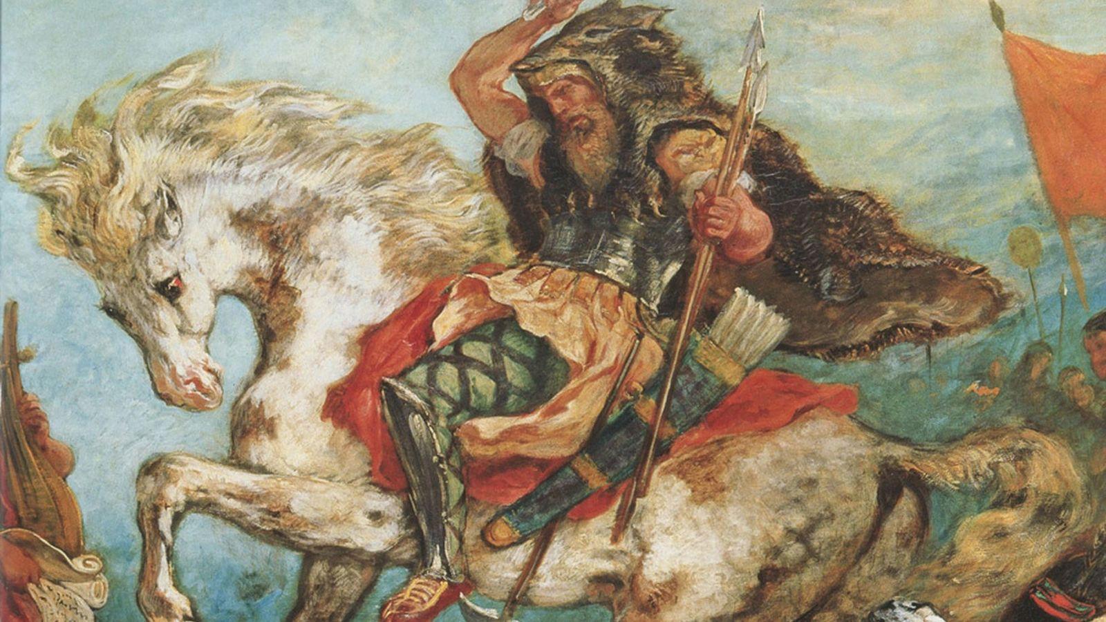 Attila et sa horde mènent uneattaque à cheval dans ce tableau d'Eugène Delacroix.