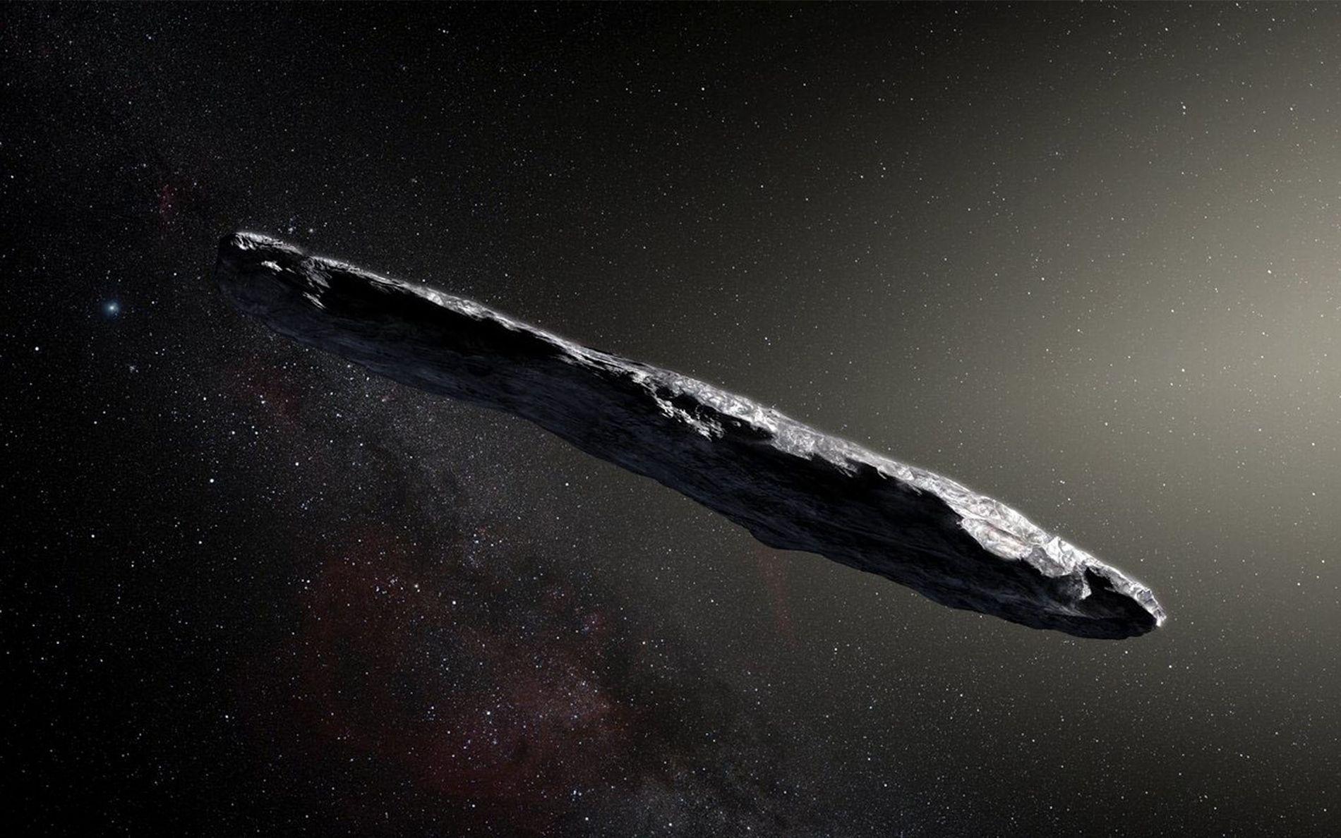 Représentation à l'échelle 10:1 de l'astéroïde interstellaire 'Oumuamua alors qu'il traversait notre système solaire en octobre ...