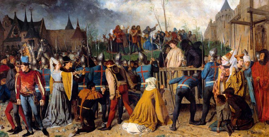 Jeanne d'Arc, ligotée et vêtue d'une longue tunique blanche, est conduite à son lieu d'exécution sur ...