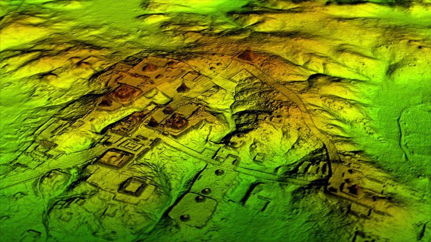 LiDAR supprime numériquement la forêt pour révéler des ruines anciennes, montrant que les villes mayas telles ...