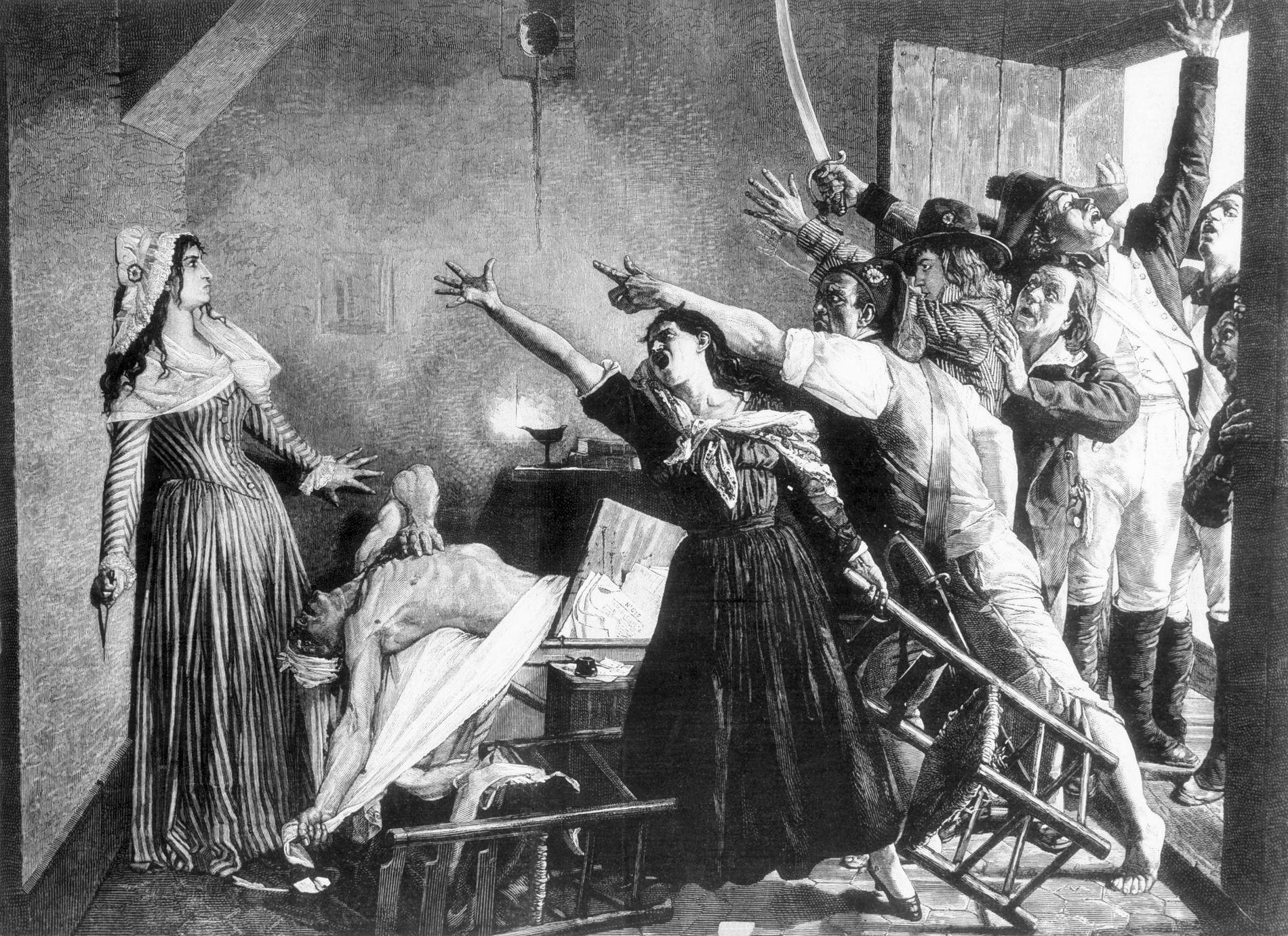 Cette gravure du 19e siècle représente les instants qui ont suivi l'assassinat de Jean-Paul Marat dans ...