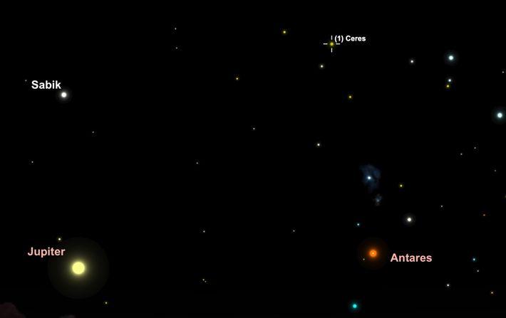Le 28 mai, tentez de repérer l'astéroïde Cérès lors de son passage à travers les constellations ...