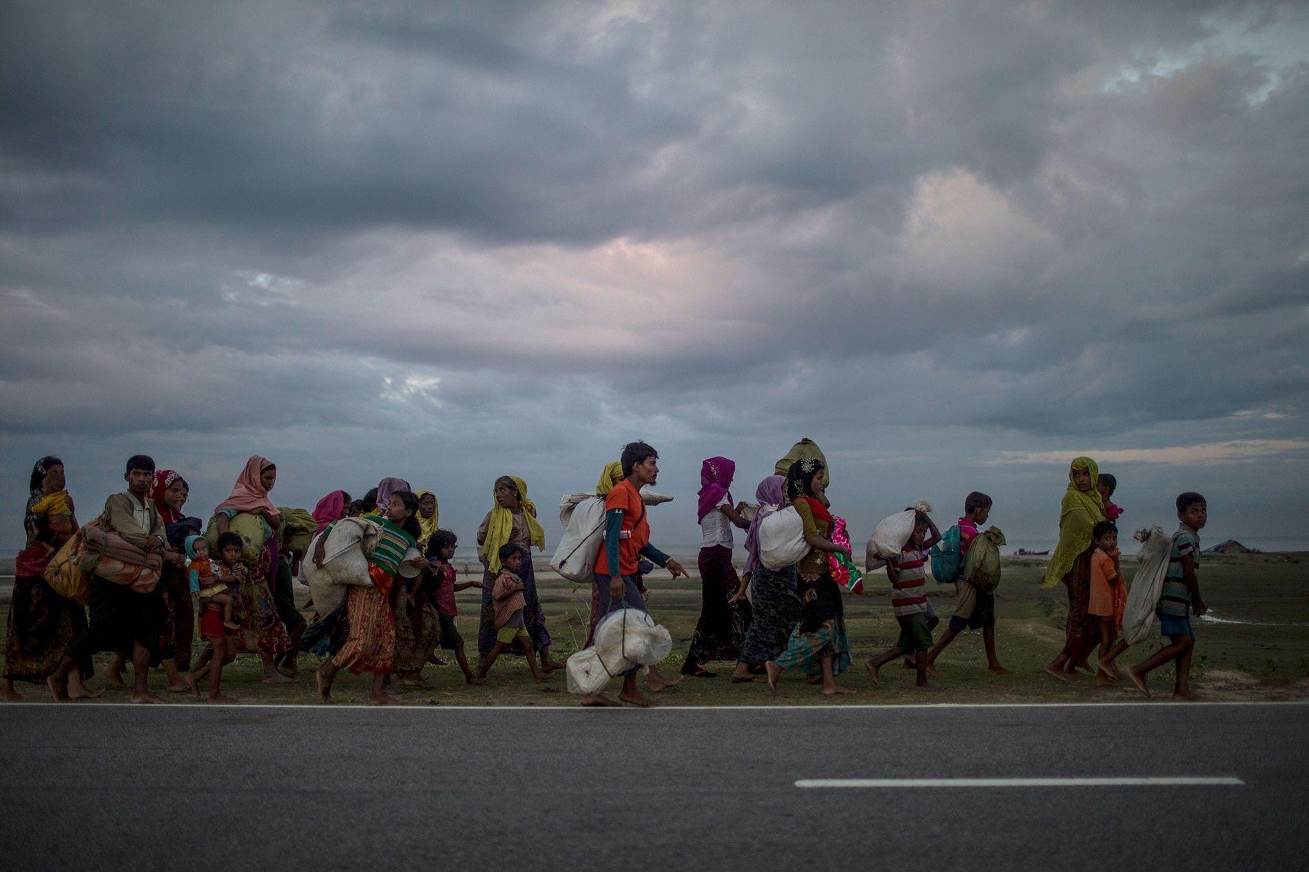 Contraints de migrer du Myanmar vers le Bangladesh, des réfugiés Rohingyas marchent à la recherche de ...