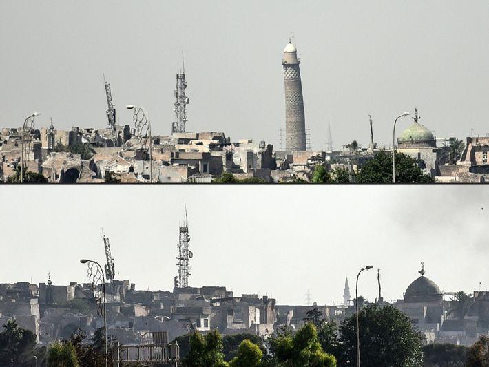L'inclinaison distinctive du minaret de Mossoul, vieux de plus de 850 ans, a été capturée pendant ...
