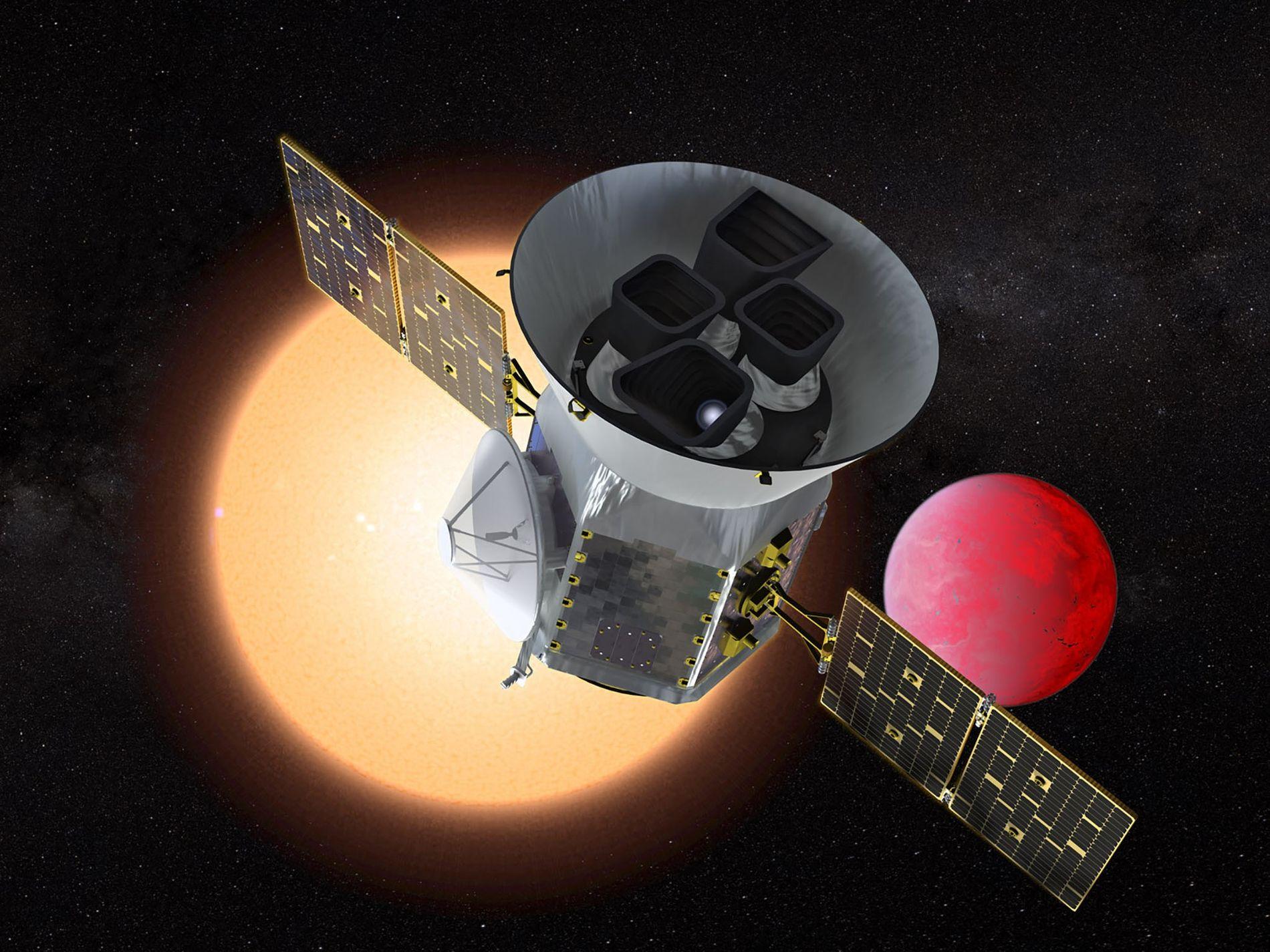 Représentation du Transiting Exoplanet Survey Satellite (TESS), le télescope spatial qui va scanner le ciel à ...