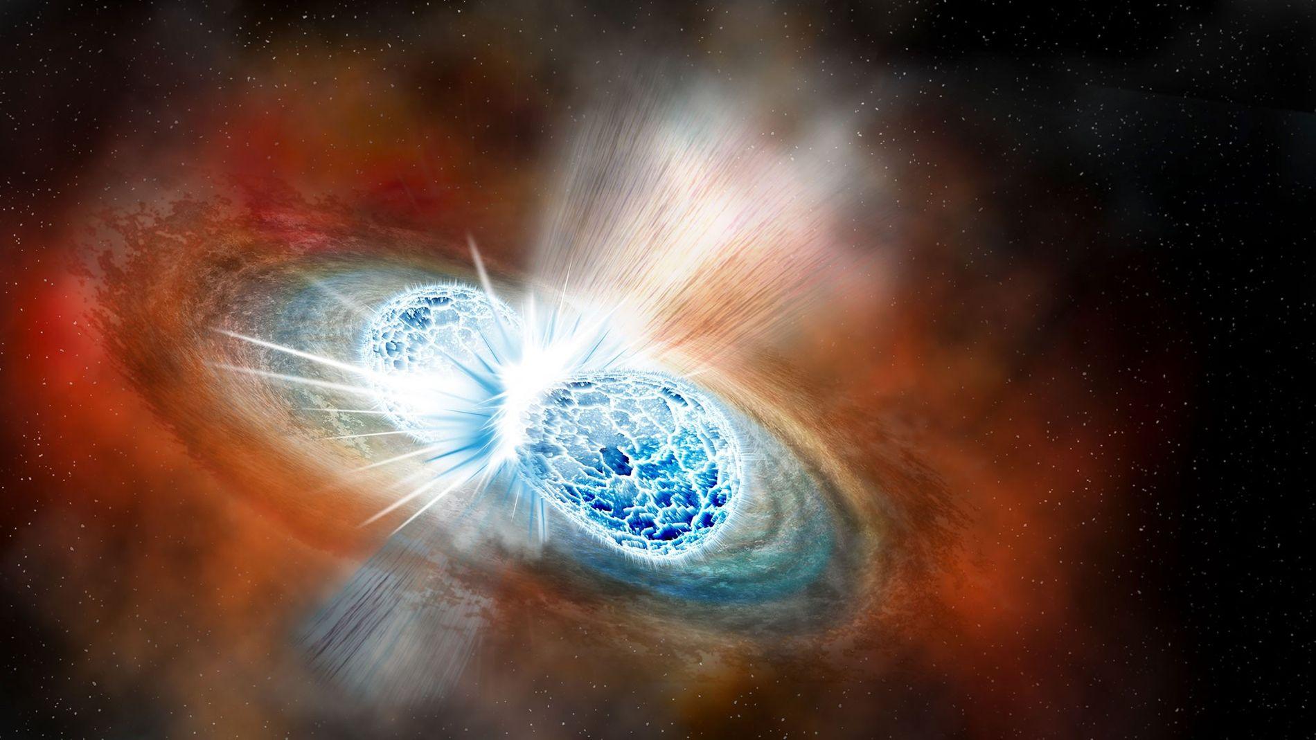 Sur cette illustration, deux étoiles à neutrons entrent en collision lors d'une explosion appelée supernova. Le ...