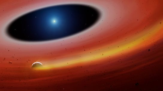 Sur cette illustration on peut voir les restes d'une planète en orbite autour d'un naine blanche, ...