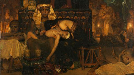 Dans cette peinture du 19e siècle, Lourens Alma-Tadema représente le Pharaon alors qu'il vient de perdre ...