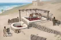 Reconstitution par un artiste du pressoir vinicole de Tell el-Burak, vu depuis le sud-est.