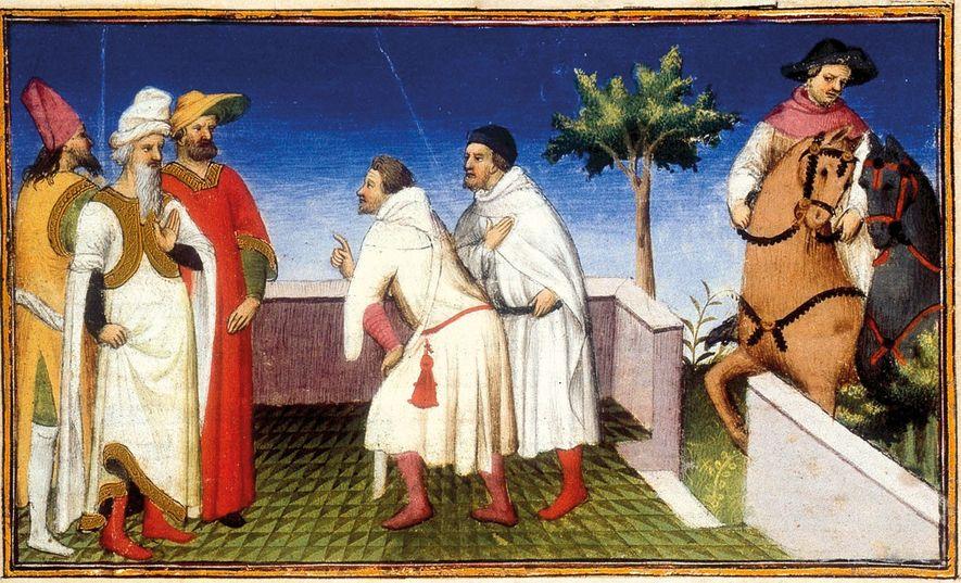 Cette miniature du 15e siècle représente le départ de Marco Polo, accompagné de son père et ...