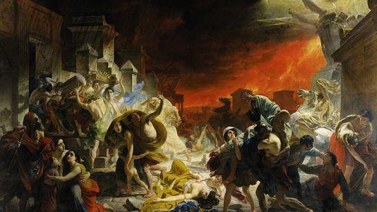 Dans son tableau « Le Dernier Jour de Pompéi » peint au milieu du 19e siècle, ...
