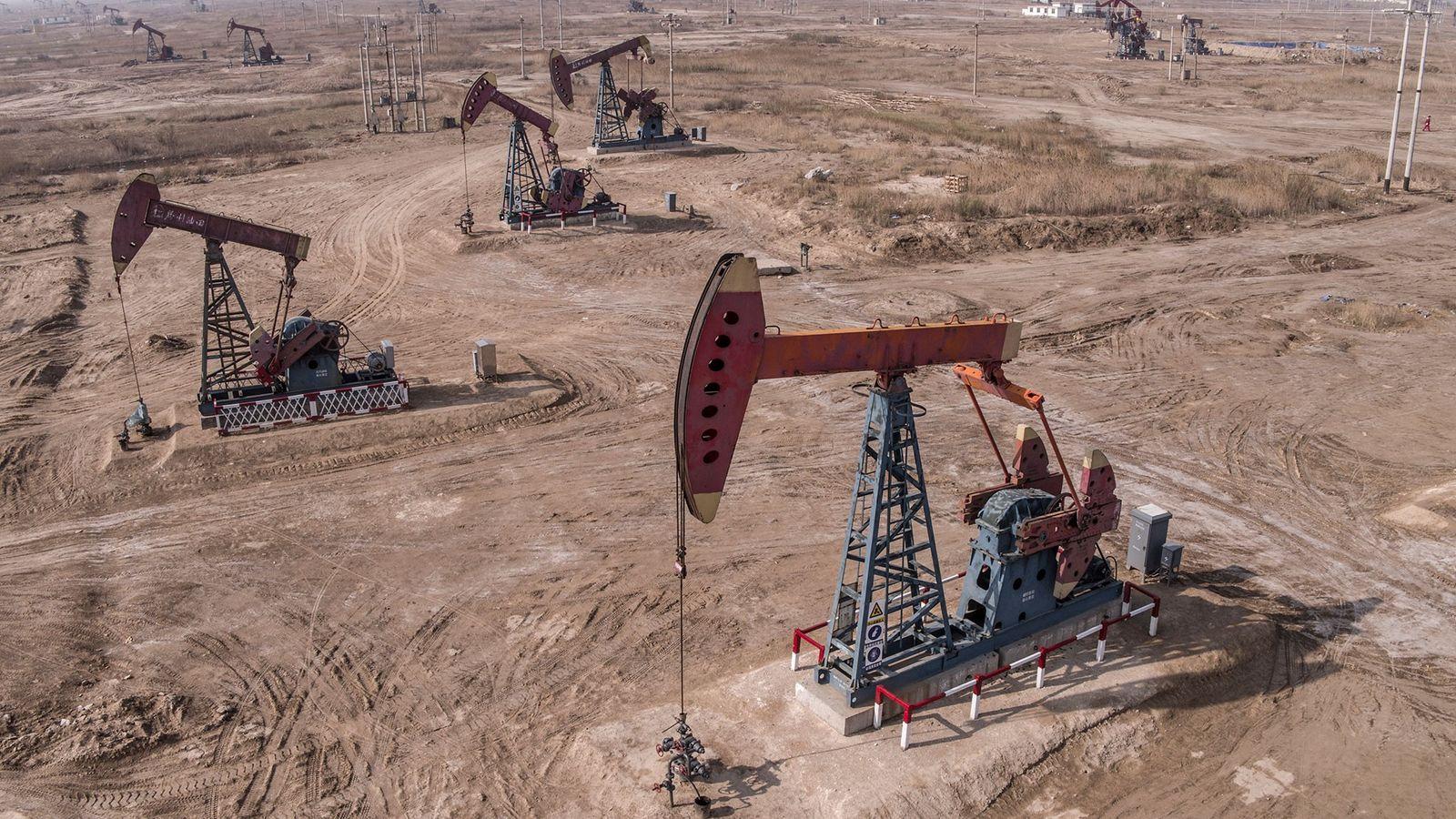 Photographie d'un champ de pétrole en Chine. Tous les plus grands pays producteurs de combustible fossile, ...