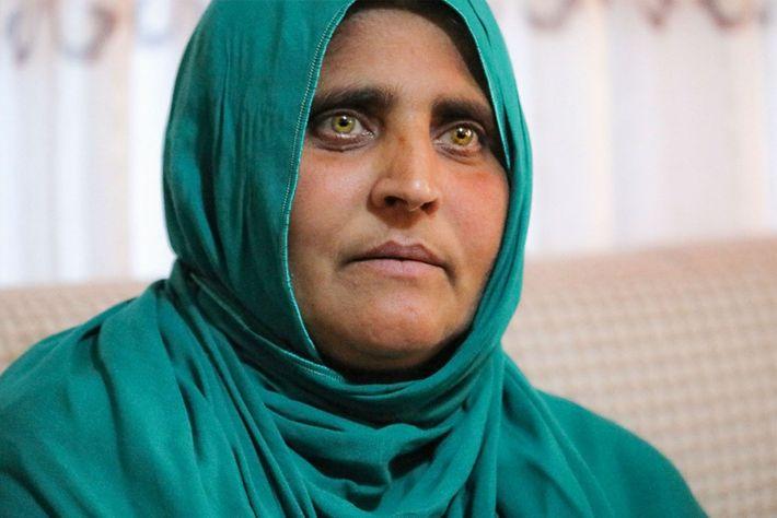 """Connue sous le nom de l'""""Afghane aux yeux verts"""" Sharbat Gula est maintenant âgée de 45 ..."""