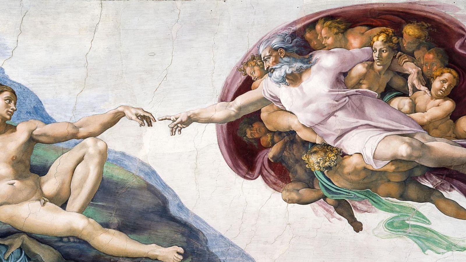 Avec un doigt tendu, Dieu accorde le don de la vie à Adam dans la fresque ...