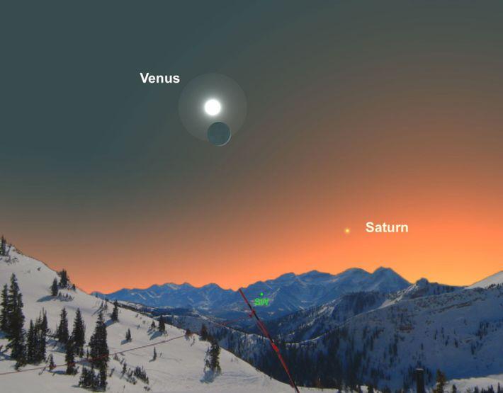 Le 28 décembre, admirez Vénus qui sera située non loin du croissant de Lune.