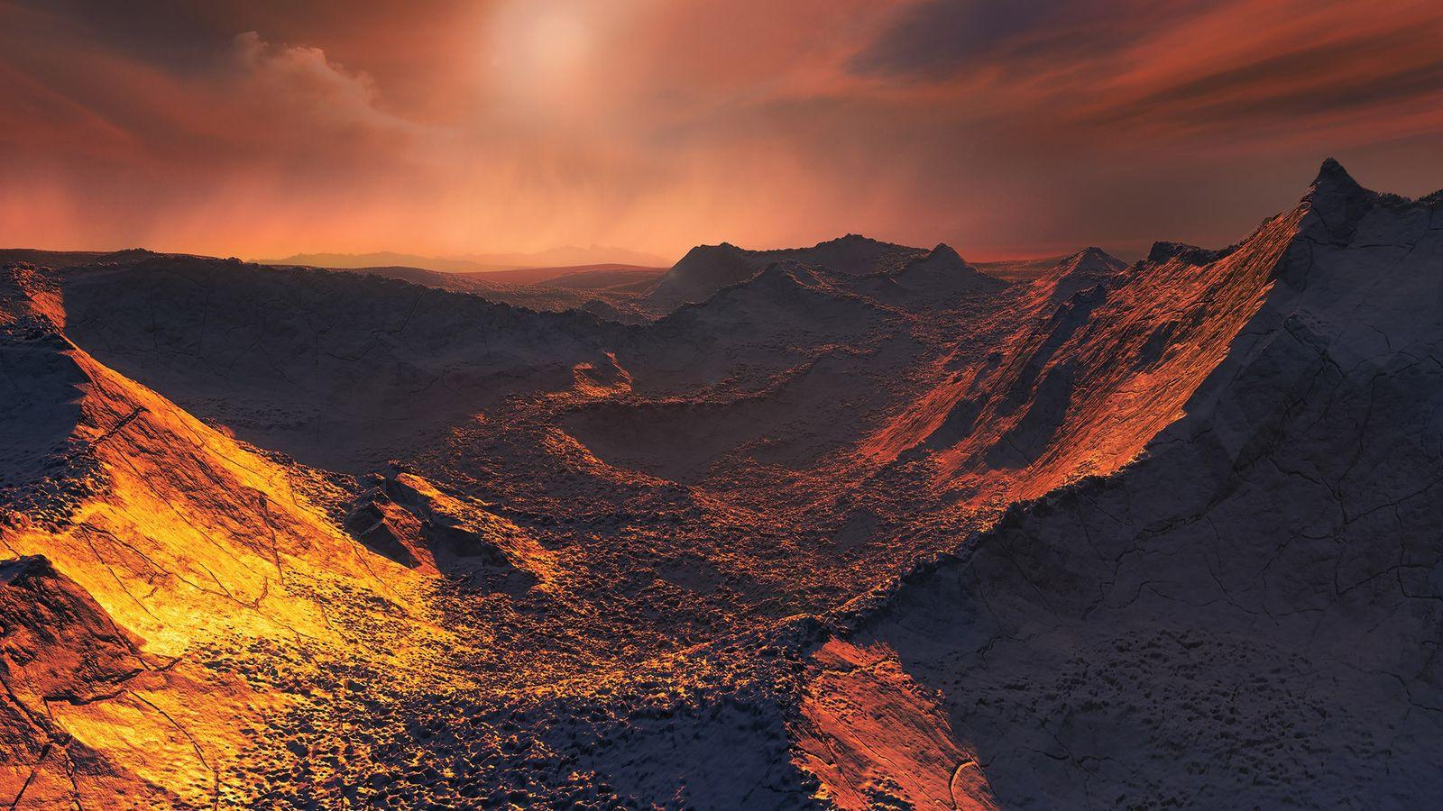 Vue d'artiste représentant une naine rouge peu lumineuse qui s'élève au-dessus du paysage de la planète ...