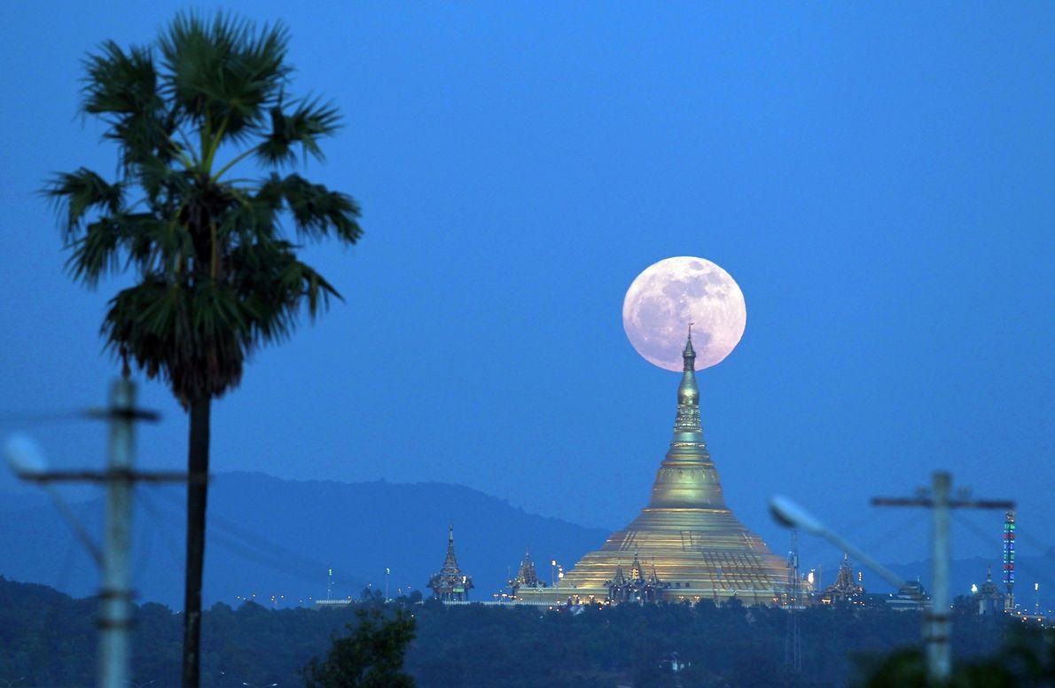 La super Lune s'élève derrière la Pagode Uppatasanti, à Naypyidaw, en Birmanie.
