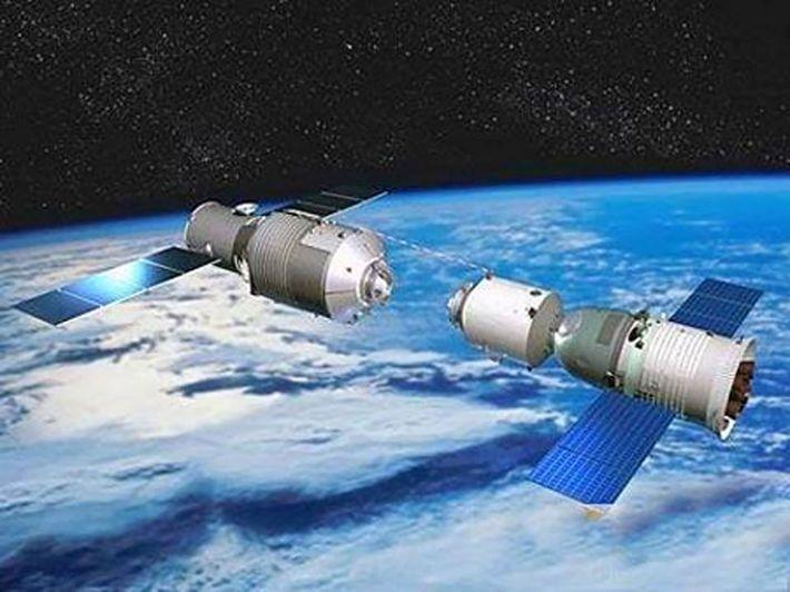 La station spatiale Tiangong-1 dans une illustration publiée par les médias chinois en 2013.