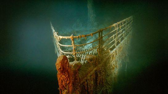 La proue rouillée du Titanic repose au fond de l'Atlantique Nord.