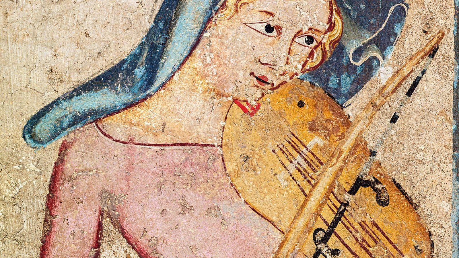Une vièle, ancêtre du violon moderne, est représentée dans cette fresque de 1330. Musée de la ...
