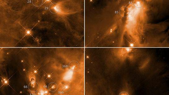 Ces quatre images prises par le télescope spatiale Hubble montrent la naissance d'une étoile dans le ...