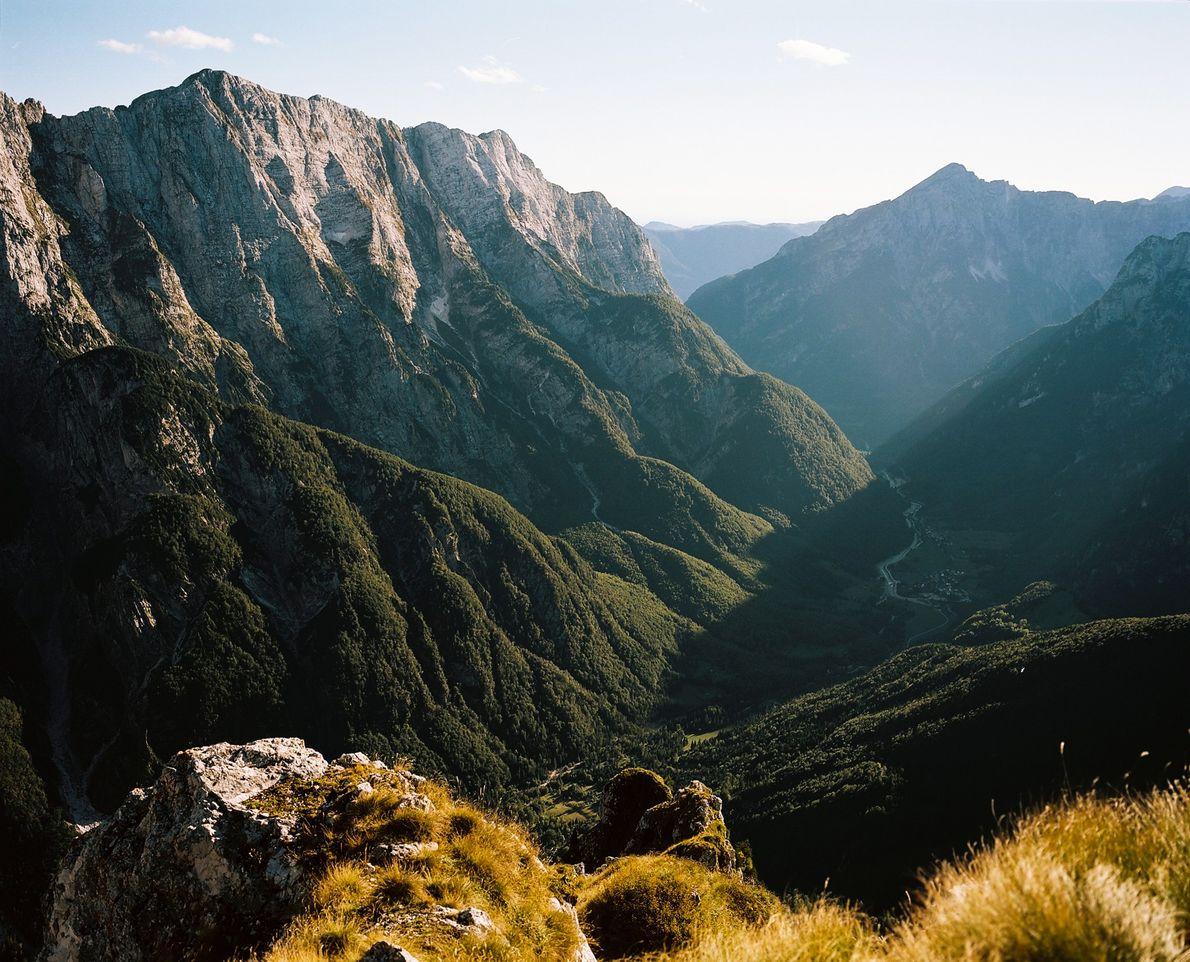 La lumière du soleil inonde la verte vallée verte de Mangart, nichée dans les Alpes juliennes.