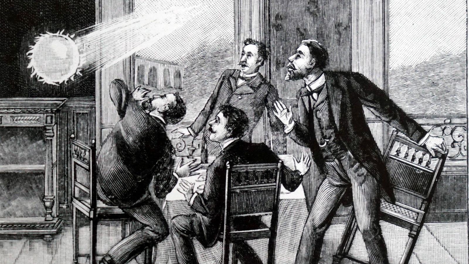 Sur cette illustration française, on peut voir une boule de feu pénétrer dans la pièce par ...