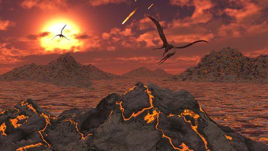 Des ptérosaures s'envolent au-dessus d'un paysage volcanique pendant l'extinction de masse responsable de la disparition des ...