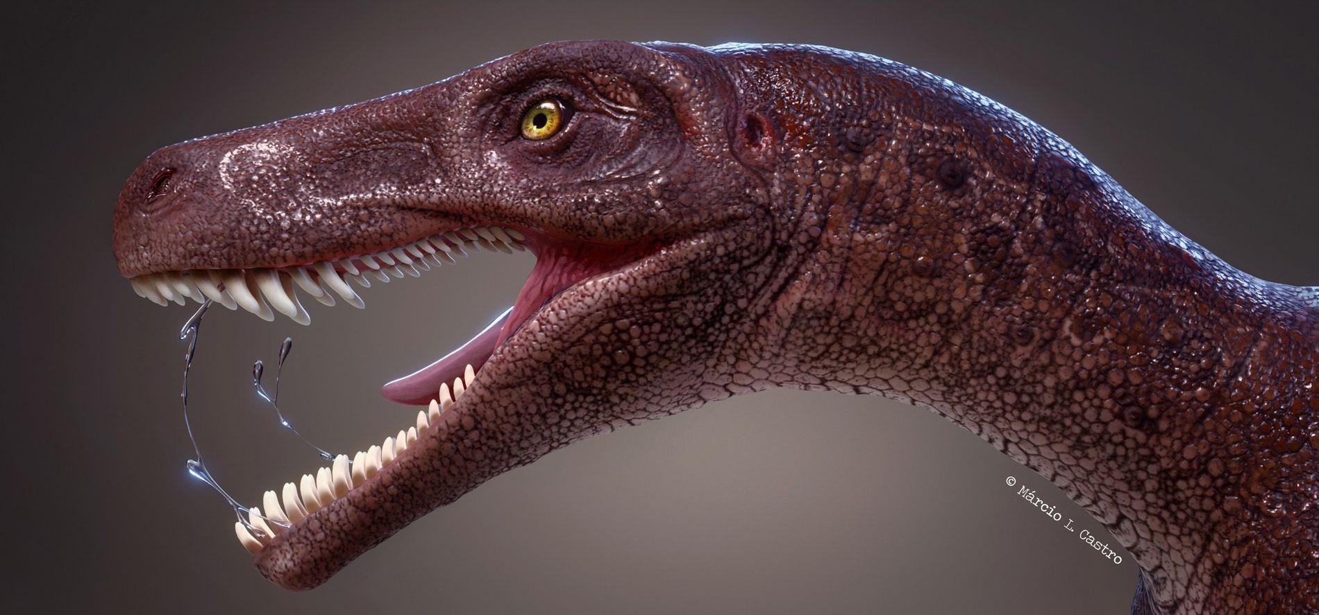 Gnathovorax cabreirai, représenté ci-dessus, était le plus ancien dinosaure carnivore de son espèce au Brésil et ...