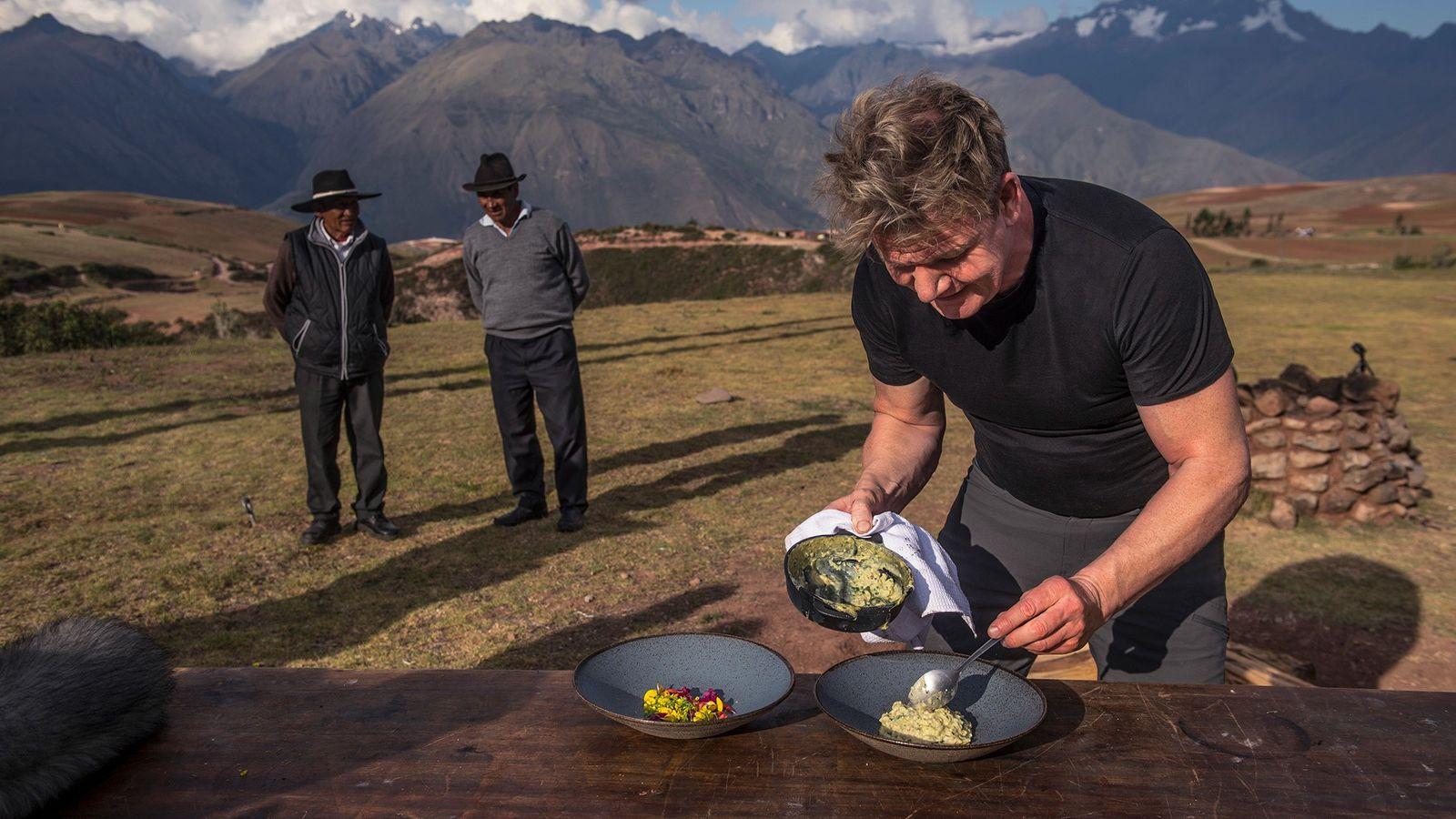 Le chef Gordon Ramsay s'inspire des ingrédients indigènes de la Vallée sacrée au Pérou.
