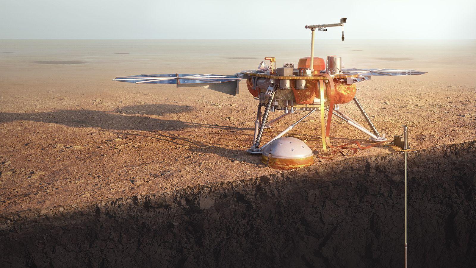 L'atterrisseur InSight Mars de la NASA explore la planète rouge dans une illustration.