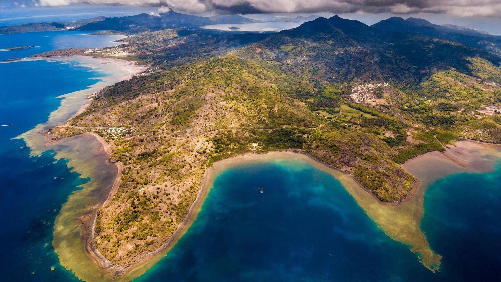 Vue aérienne de la partie sud de Mayotte.