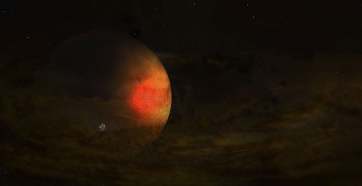 Un faible disque de poussière entoure une planète géante. Ce disque peut donner naissance à une ...
