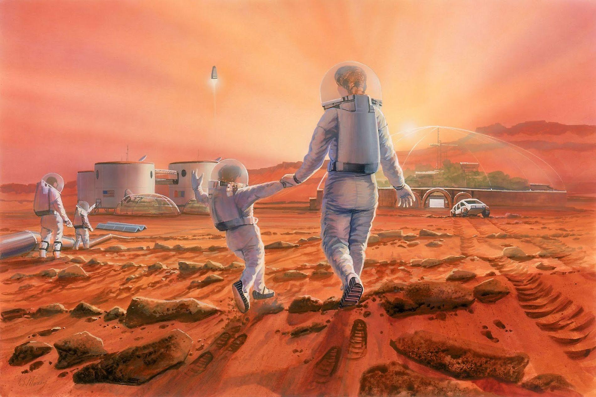 Vue d'artiste représentant une famille qui s'amuse sur Mars.