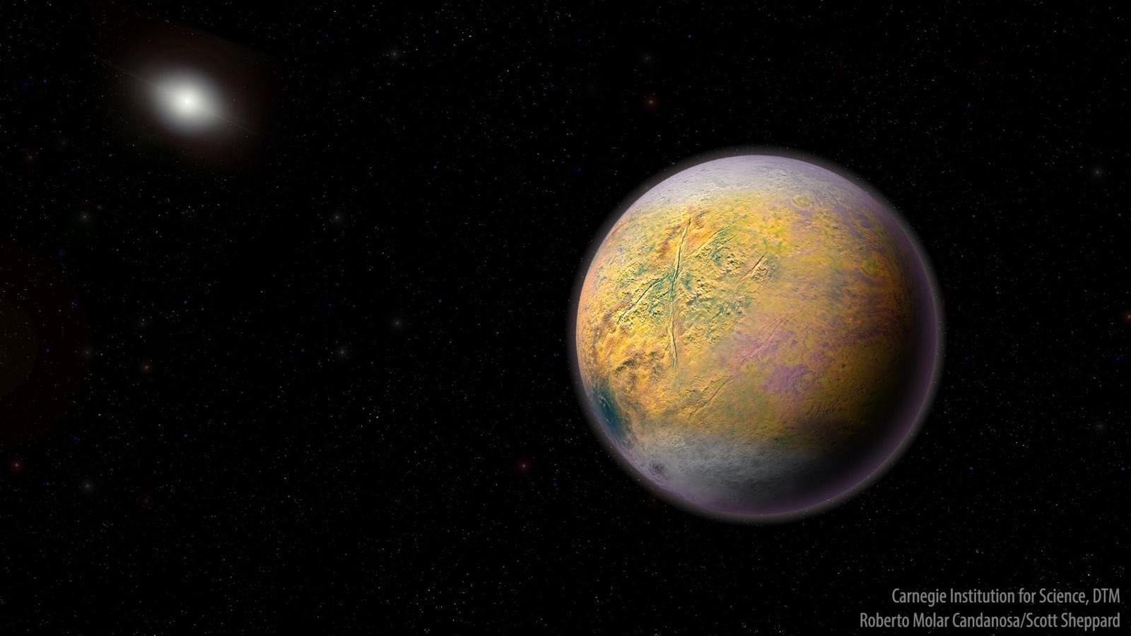 Une illustration de la Planète Neuf, qui pourrait façonner les orbites de plus petits objets extrêmement ...