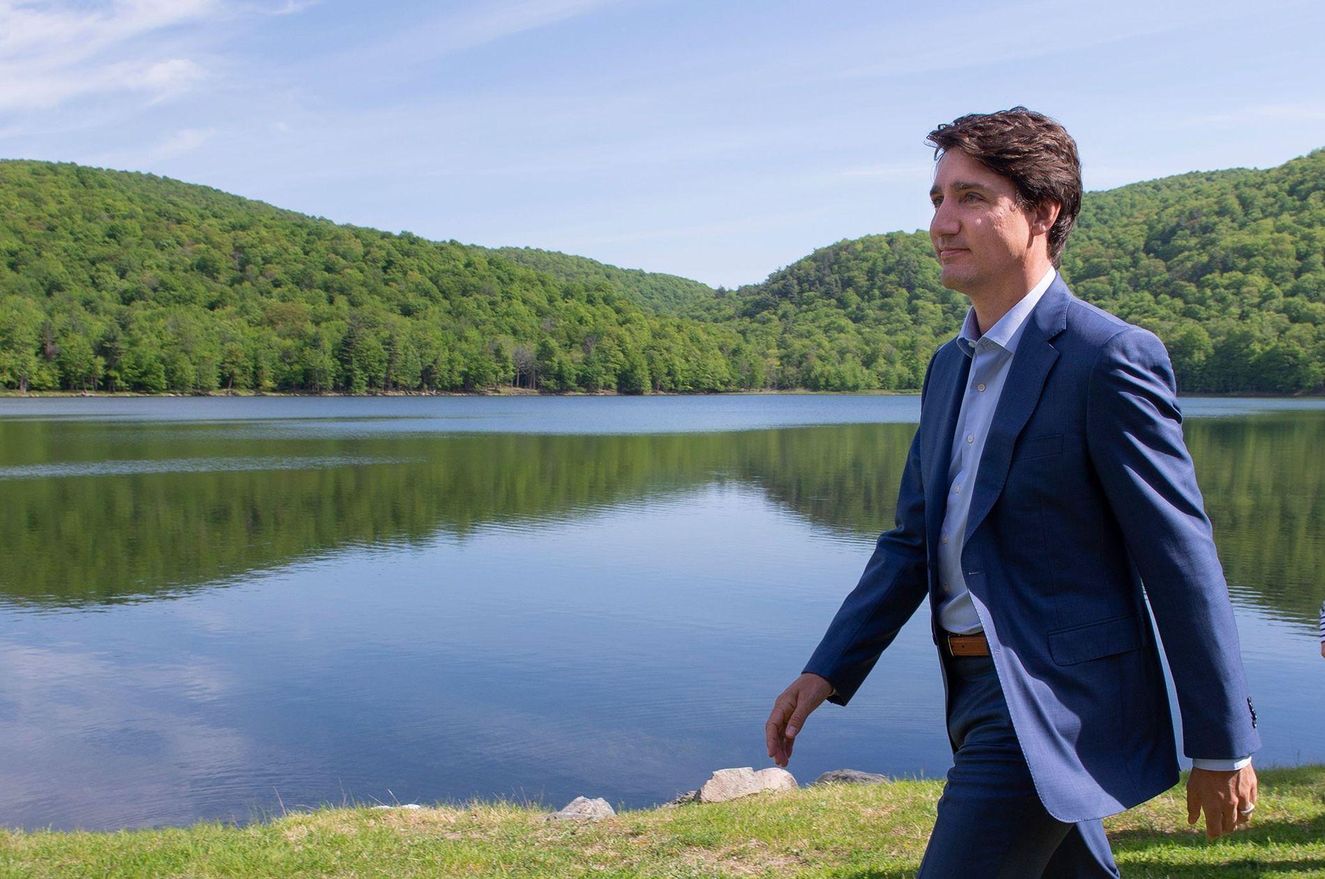 Le Premier ministre canadien Justin Trudeau après la conférence de presse durant laquelle il a annoncé ...
