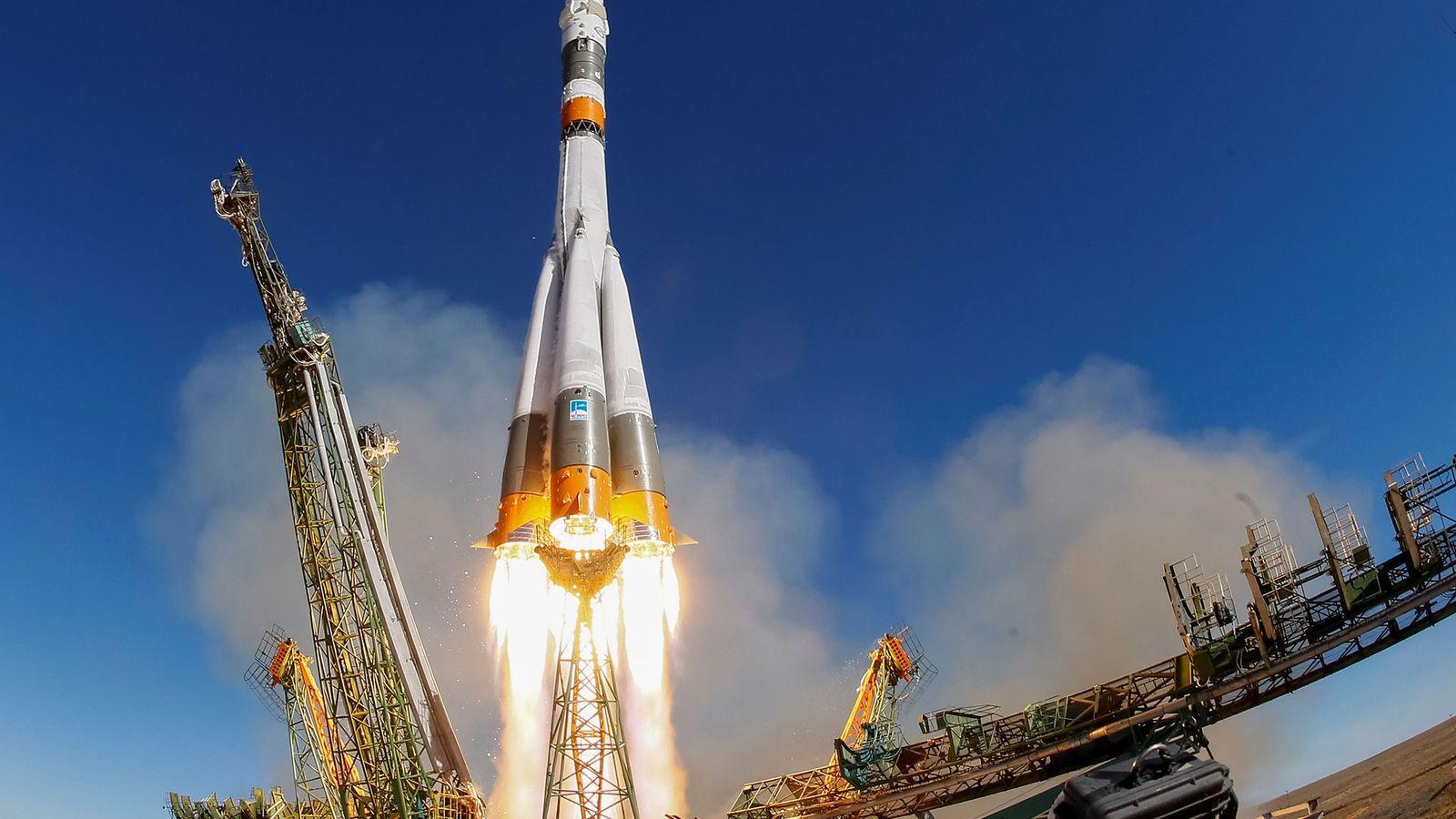 Le 11 octobre 2018, la fusée Soyouz MS-10 décolle du cosmodrome de Baikonue au Kazakhstan pour ...
