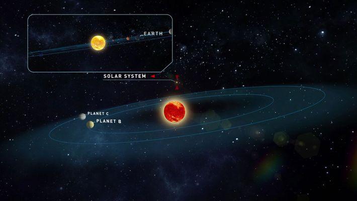 Cette illustration représente l'étoile de Teegarden et les orbites potentielles des nouvelles planètes. À titre de ...