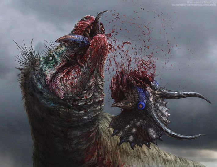 Cette illustration représente un Tyrannosaurus rex en train de déchiqueter sa proie.