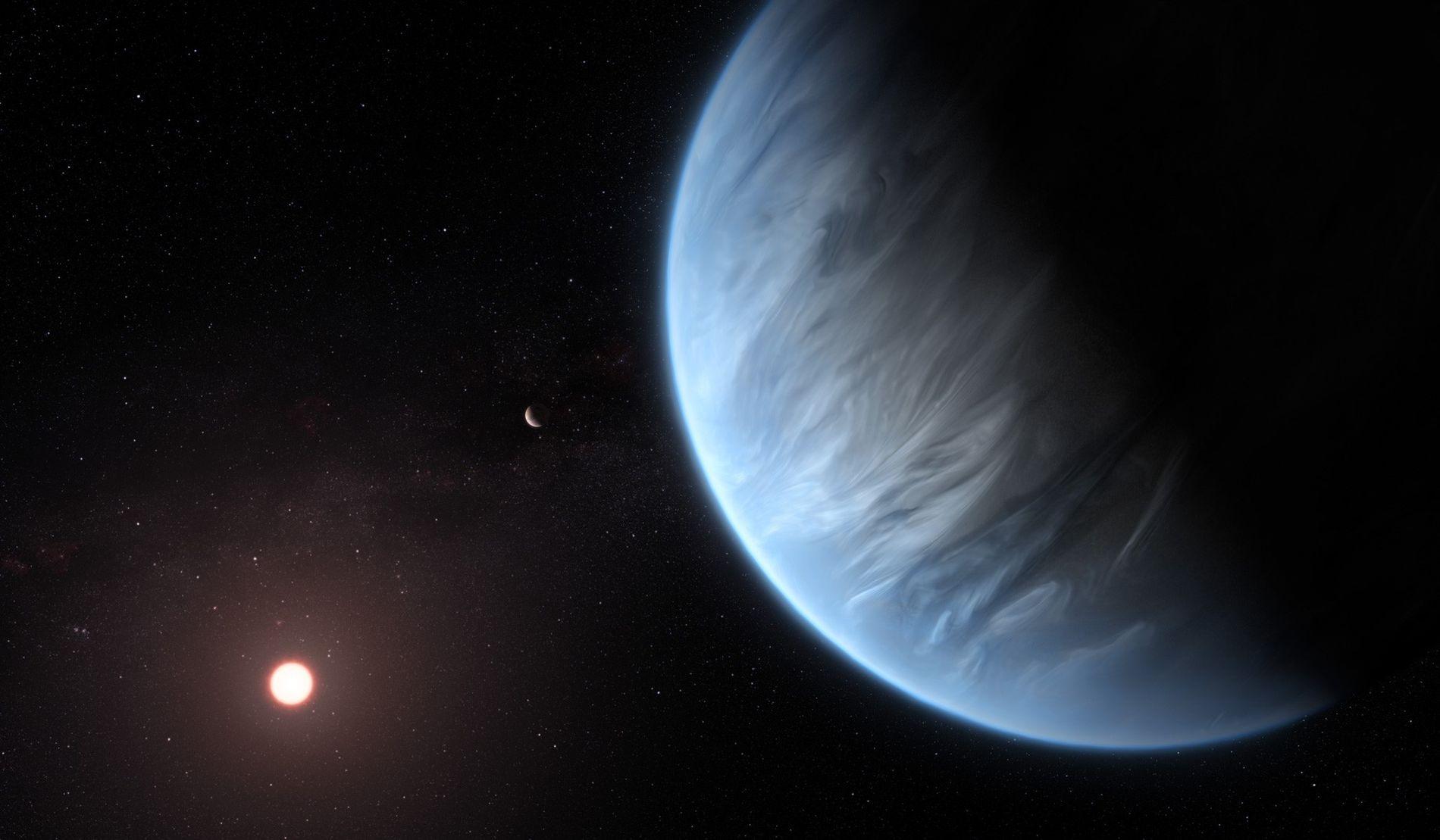 Dans cette illustration, la planète K2-18b obite autour d'une étoile rouge chaude. Cette exoplanète est la ...